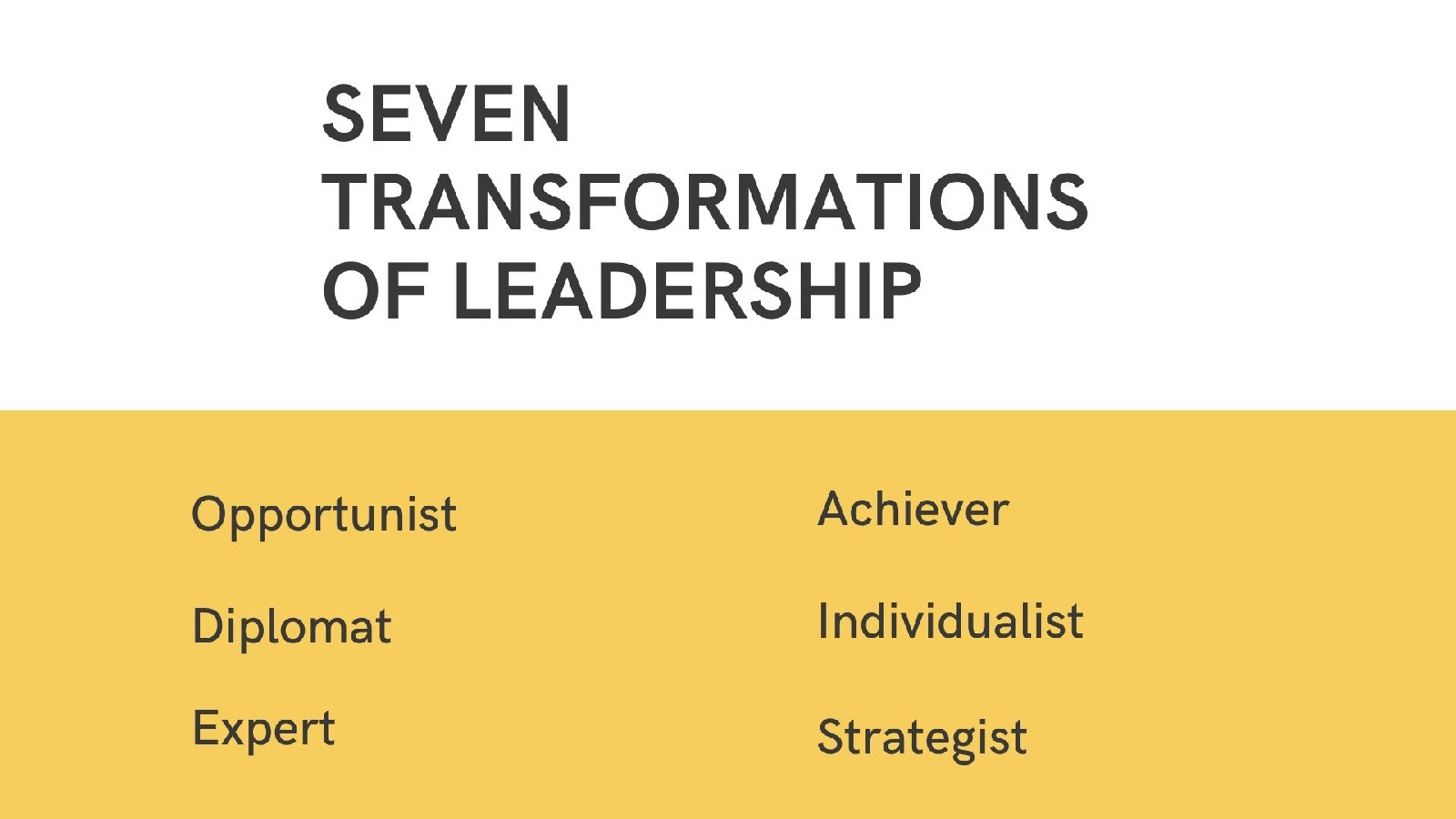 The Seven Transformation of Leadership Styles