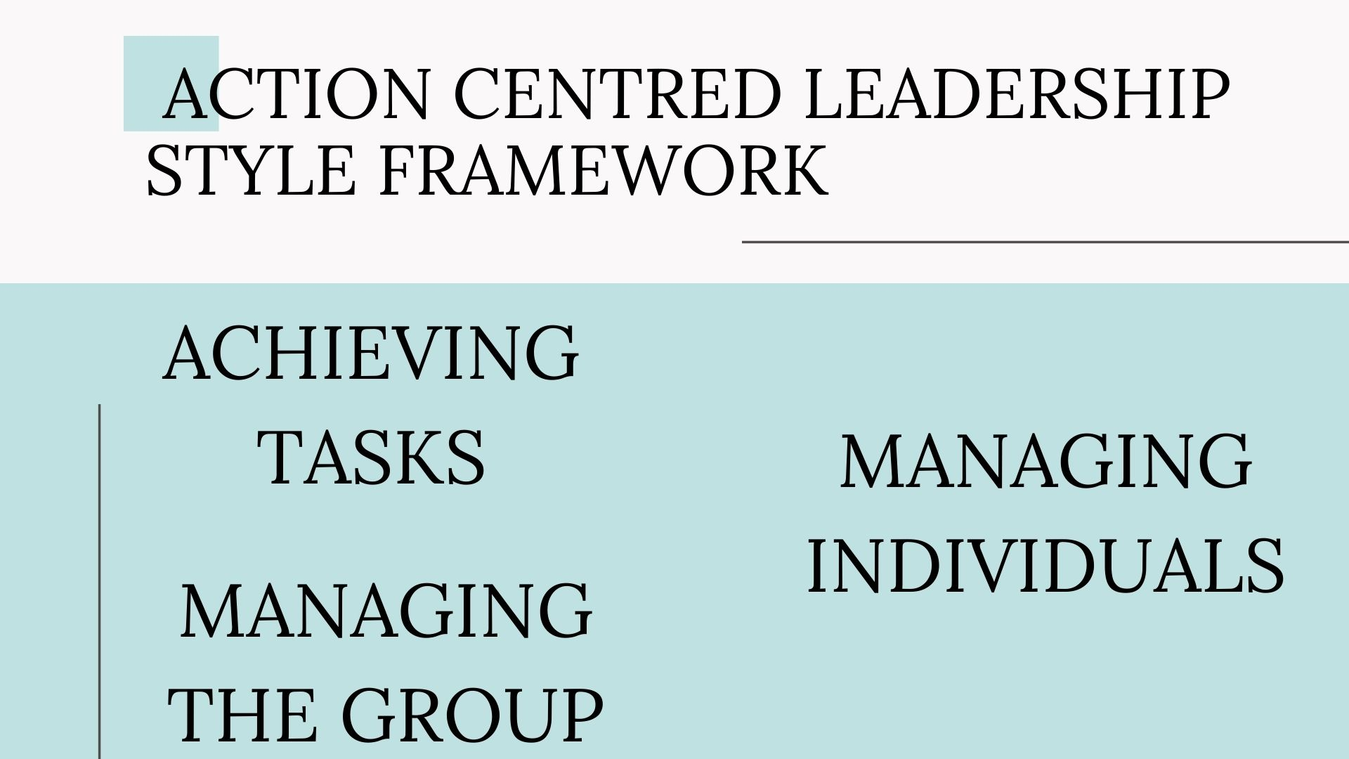 framework of this Action Centred Leadership Style