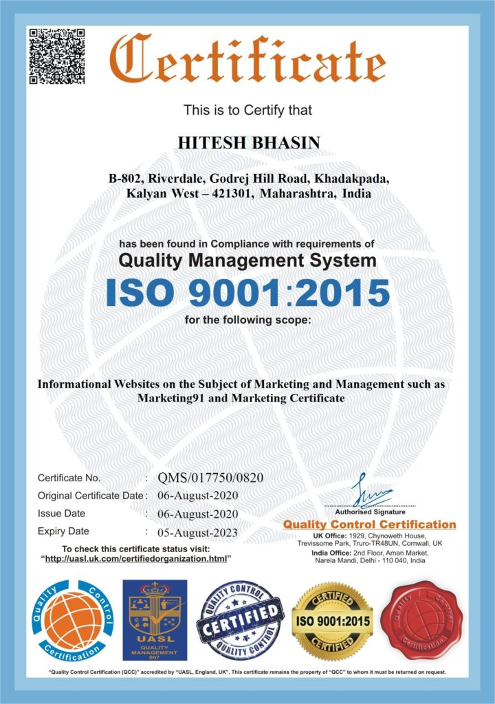 ISO Certification for Hitesh Bhasin Marketing91 and Marketing Certificate